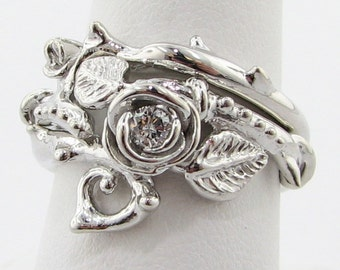 Thorned Rose Wedding Set, Silver & Diamond