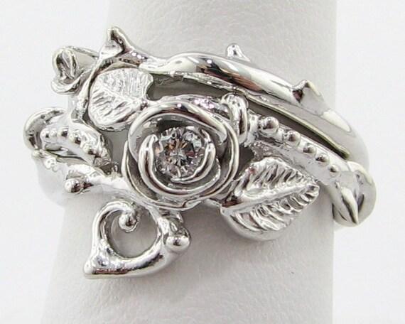 Thorned Rose Wedding Set, Silver & Diamond