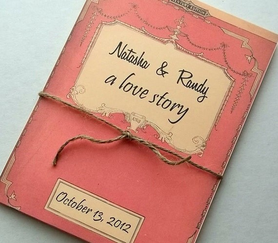 Storybook Wedding Gift : Wedding invitation storybook suite, includes 3 info cards, twine, Set ...