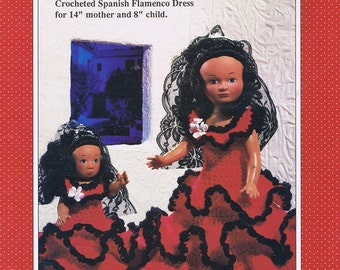 Crocheted Spanish Flamenco Dancer 14 Fourteen Inch and 8 Eight Inch Dolls Ruffled Red Dress Mantilla Crochet Craft Pattern Leaflet FCM179