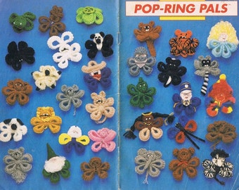 Pop Ring Pals Quick Crochet Creatures Lion Cat Pig Frog Spider Gingerbread Man Dog People Last Minute Gift Ideas Craft Pattern Pamphlet
