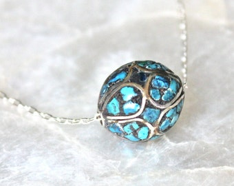 Antique Turquoise Mosaic Floating Bead Necklace in Sterling Silver - Eco Friendly Recycled Nickel Free Silver