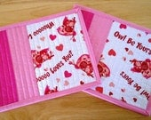 Pink Owl Love Mug Rugs, 2 Owl Heart Snack Mats,   Pink Candle Mats by SEW FUN QUILTS
