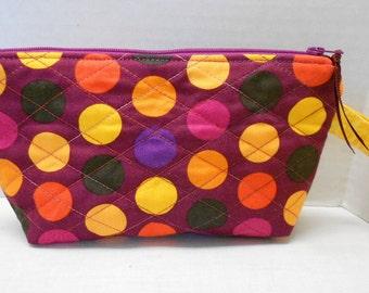 Cosmetic Zipper Wristlet Bag Gadget BagYellow Orange Purple  by SEW FUN QUILTS