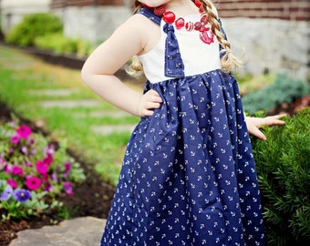 Ahoy Matey, nautical knot dress, size 6mos.-10 girls