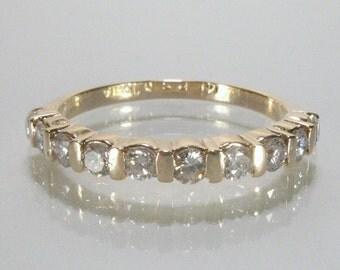 Vintage Yellow Gold Diamond Anniversary Band - Wedding Band - 0.45 Carat Diamond Total Weight