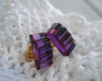Vintage Antique Amethyst Ripple Glass Jewels Gold Pierced Earrings Luminous