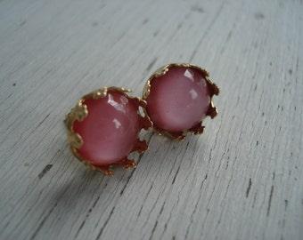 Vintage Pink Moonstone Glass in Gold Crowns Stud Pierced Earrings