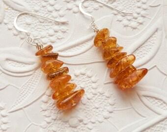 Beautiful Golden Rich Honey Natural Baltic Amber Silver Dangling Earrings