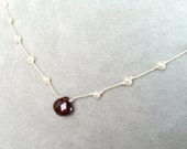 Faceted Garnet and  Pearl necklace -- Hand-knotted Silk and Sterling Silver