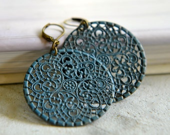 Bohemian Earrings Blue Filigree Earrings Slate Blue Jewellery Gypsy Large Round Earrings