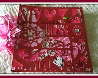 Premade Album/Scrapbook Love Themed Red and Pink