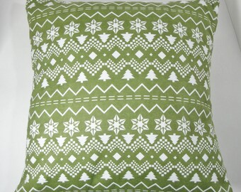 """Pillow cover green, zigzag, cabin lodge decor, Christmas pine trees, 12"""", decorative pillow, winter cushion,"""