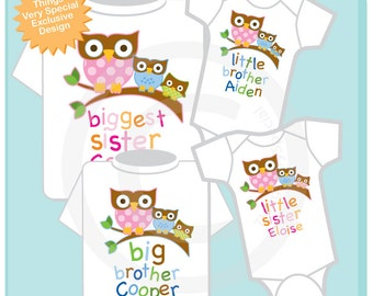 Set of Four, Big Sister, Big Brother and One Of Each Sex Baby Owls on Tee shirts or Onesies. :