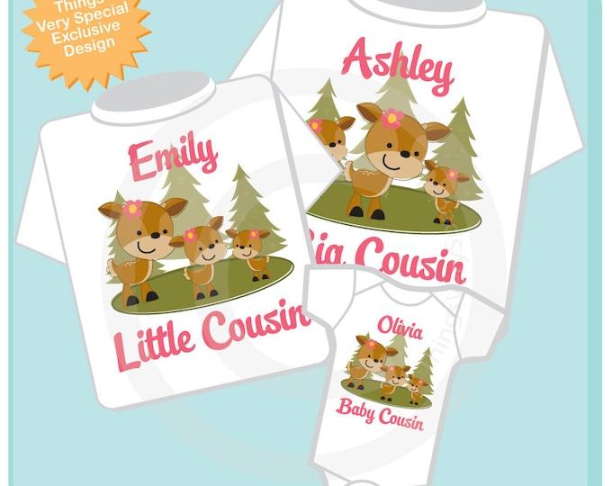 Set of Three, Personalized Big Cousin Shirt, Little Cousin Shirt or Onesie, and Baby Cousin Shirt or Onesie 04152013c