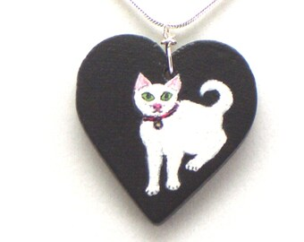 White Cat Heart Pendant / Necklace Hand Painted on Wood