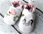 Organic Vegan Unicorn and the Butterfly  All Fabric Soft Sole Baby Shoes / Made to Order / Babies Pink