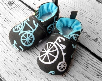 Classic Vegan Fuel Efficient Pedal Power Blue Bikes All Fabric Soft Sole Baby Shoes / Made to Order/ Babies Bicycle Gift