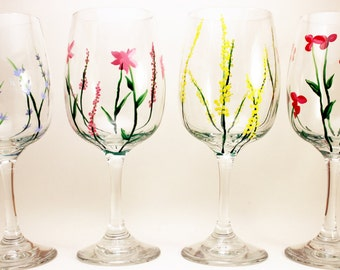 Hand painted wine glasses with wild flowers, wild flower wine glasses, best seller set of 4