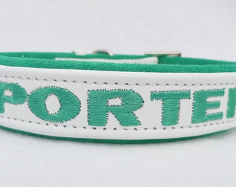 One Inch Adjustable Personalized Leather dog collars.  Sizes from 12-22 inches