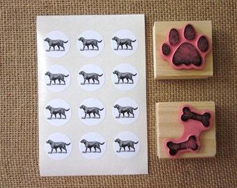 Black Labrador Retriever Dog Stickers One Inch Round Seals