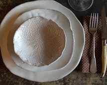 Ceramic dinner plates - White dinnerware plates (white on red ) ceramic bowl handmade tableware dishes dinnerware by Christiane Barbato
