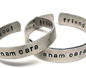 Couples Hand Stamped Bracelet, Personalized Jewelry, Anam Cara