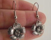 Antiqued Silver Maple Leaf Earrings with Clear Swarovski Crystals, Silver Earrings, Swarovski Earrings