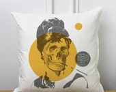 Audrey Hepburn Skull Throw Pillow, Breakfast At Tiffany's, Punk Art Cushion, Zombie, Quote, Holly Golightly, Hollywood Icon, Classic, Movies