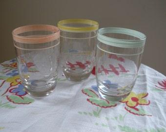 Set of Three Vintage Juice Glasses