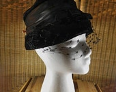 Vintage Black Velvet Bucket Hat with Veil and Flat Ribbon and Sash, With Hatpin: Sassy Black