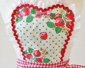 Sweetheart Retro Apron Vintage Style Hostess Apron in Strawberries and Gingham