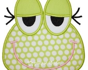439 Frog Face Machine Embroidery Applique Design