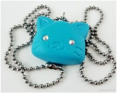 Turquoise Cat Pendant, Stainless Steel Chain, Polymer Clay - Kawaii Jewelry, Decoden