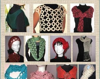 11 Versatile Knitting Crochet Scarf Patterns- Daisy, Loop, Dogwood, Rose Flower, Trendy Reversible Scarf Headband Neckwarmer for all seasons