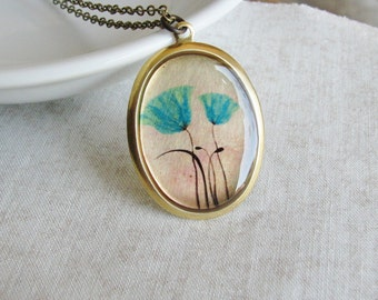 Blue Poppy Necklace Illustrated Art in Resin Jewelry Poppies Nature Inspired Wearable Art Woodland Garden Bridal Jewelry Fashion Statement
