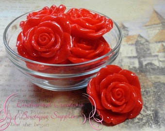42mm Resin Flower Beads Red Qty 4