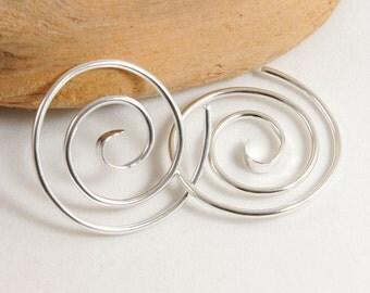 Double Spiral Gauged Earrings, Sterling Silver 14 Gauge 16 Gauge, 14k Gold Fill Spiral Swirl Earrings, Body Jewelry, Ear Gauges