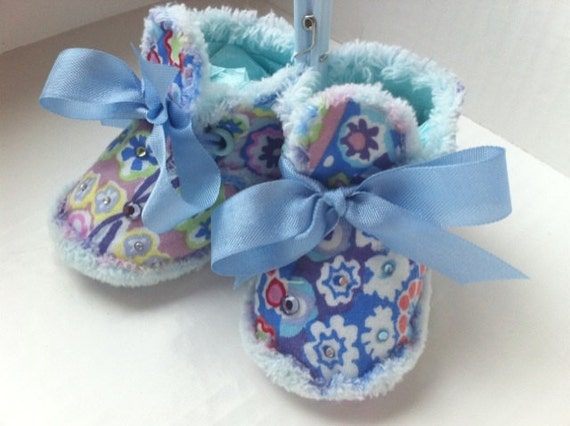 Soft Sole  Blue Millefiori Baby Booties with Bling- Photo Prop