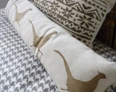 hand printed  reversible natural and soft gold reversible   triple pheasant bolster