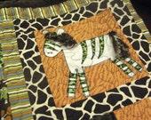 Animal Print Baby Quilt - Giraffe Elephant Zebra Baby Quilt - Chocolate Brown Green Orange - Boy Or Girl - Personalized Baby Quilt - Animals