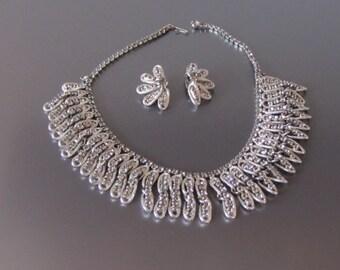 1960s Black Diamond Rhinestone Fringe Necklace Earring Set