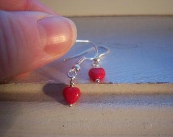 Cinnamon Heart Earrings - Heart Earrings - Red Earrings