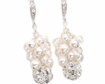 Wedding Earrings, Rhinestone Bridal Jewelry, Pearl Cluster Earrings, Dangle Earrings, Ivory Pearl or White Pearl Jewelry