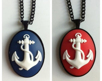 Navy and Red Anchor Cameo Black Pendant Necklaces