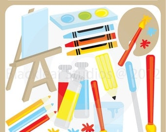 Art and Craft Party Clip Art Instant Download - paints, brush, pallette, water colours, easel - Personal and Commercial Use Clipart