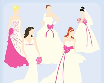 Bridal Silhouettes Hot Pink, Blue or Sage - wedding, marriage, gowns, bride, bridesmaid, shower, registry - Personal and Commercial Use