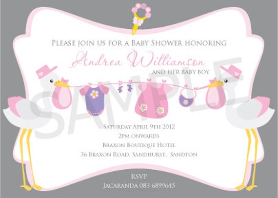 Items similar to Stork Baby Shower Printable Customised Birthday – Stork Party Invites