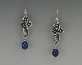 Poppy Sterling Silver Earrings, Blue or White Pearl