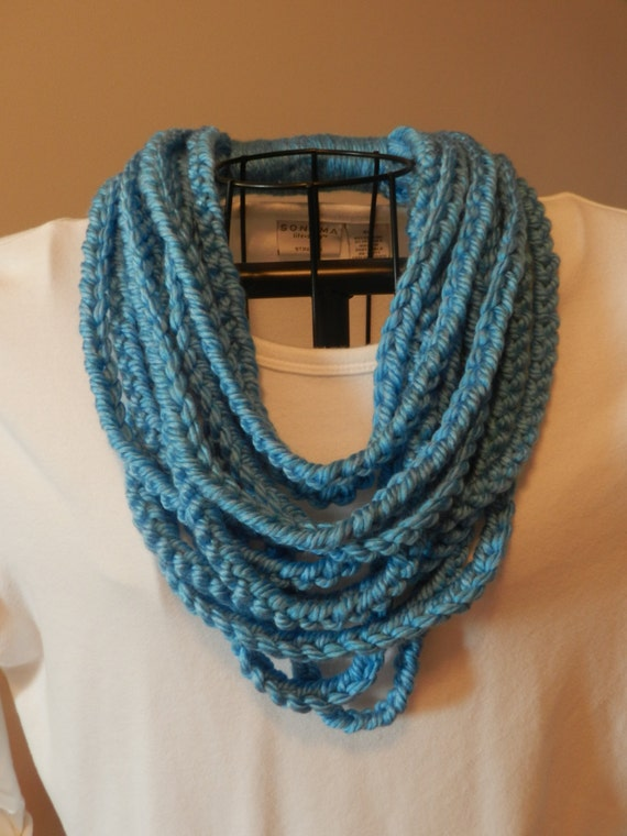 Crocheted Chain Stitch Scarf/ One Loop Scarf/ Bright Blue Chain ...